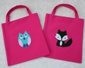 2 Tote Bags – Cerise Fabric Turquoise Felt Owl, Green Felt Fox
