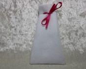 Felt Jewellery gift bag – WHITE, Pink Ribbon Large