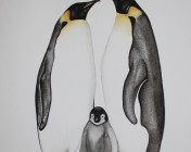 Unmounted A4 original watercolour of Emperor Penguins sold by Artist