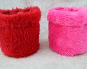 Fabric Baskets – Pink & Red Fluffy Fabric