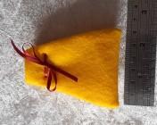 Felt Jewellery gift bag – YELLOW, Red Ribbon
