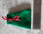 Felt Jewellery gift bag – GREEN, Red Ribbon