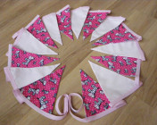 Bunting 3m Dark Pink Zebra, Pink Fabrics