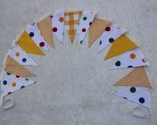 Bunting 3m 15 Flag Polka Dot, Yellow Gingham, Yellow Fabric BUNTING