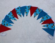 Bunting 3m Turquoise Train, Red & Turquoise Cotton Fabric