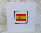 Greetings card Unique Hand Painted Spanish Flag