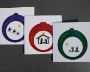 Greetings cards Notelets 6 Printed from an original watercolour Nativity, Kings, Shepherds Bauble