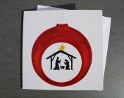 Greetings cards Notelets 5 Printed from an original watercolour Nativity Bauble
