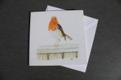Greetings card Notelet Printed from an original watercolour ROBIN ON A FENCE