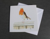 Greetings cards Notelets 5 Printed from an original watercolour ROBIN ON A FENCE