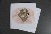 Greetings card Notelet Printed from an original watercolour TABBY KITTEN